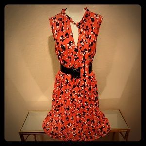 Banana Republic fit-and-flare red floral dress